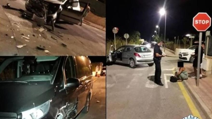 Una conductora bebida se salta un stop y provoca un accidente en Ibiza