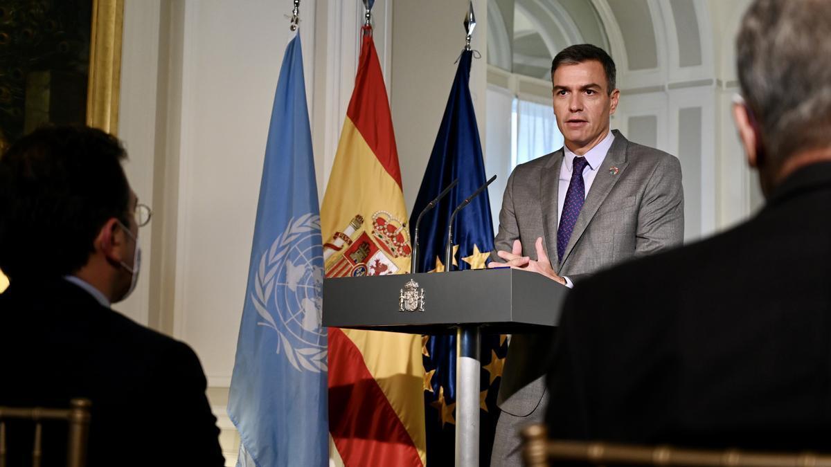 El presidente del Gobierno, Pedro Sánchez, comparece en Nueva York.