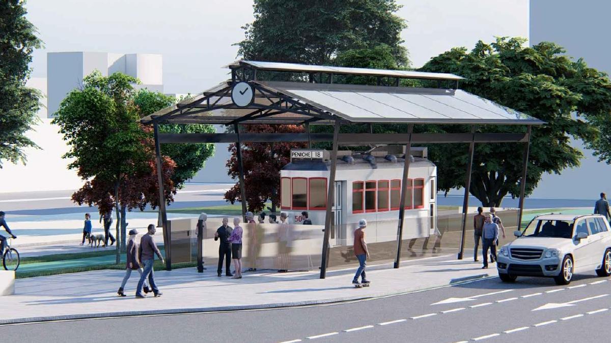 Recreación de la cubierta que se construirá para proteger el Tranvía de Coia.