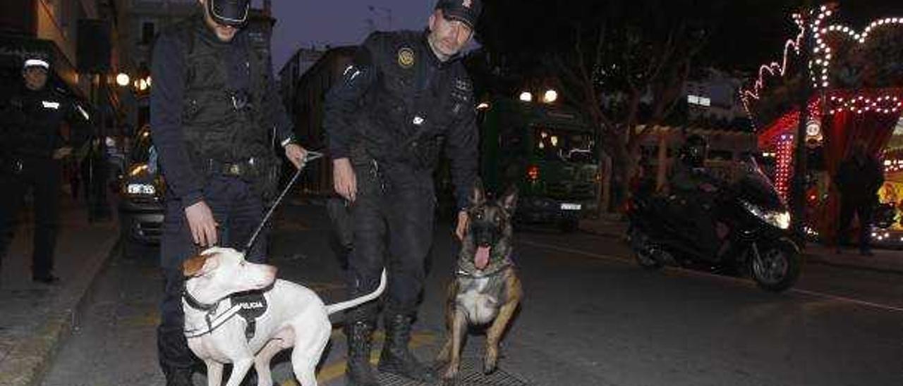 Control antidroga en el centro de Alzira con «perros policía»