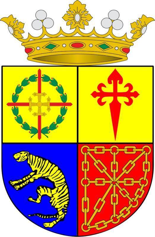 Cuartelado: el 1.º, en oro, la Cruz Laureada de San Fernando; 2.º, en oro, la Cruz de Santiago, de gules; 3.º, en azur, un tigre de oro; 4.º, en gules, una cadena de oro puesta en cruz, aspa y orla. Todo timbrado con una corona de marqués.