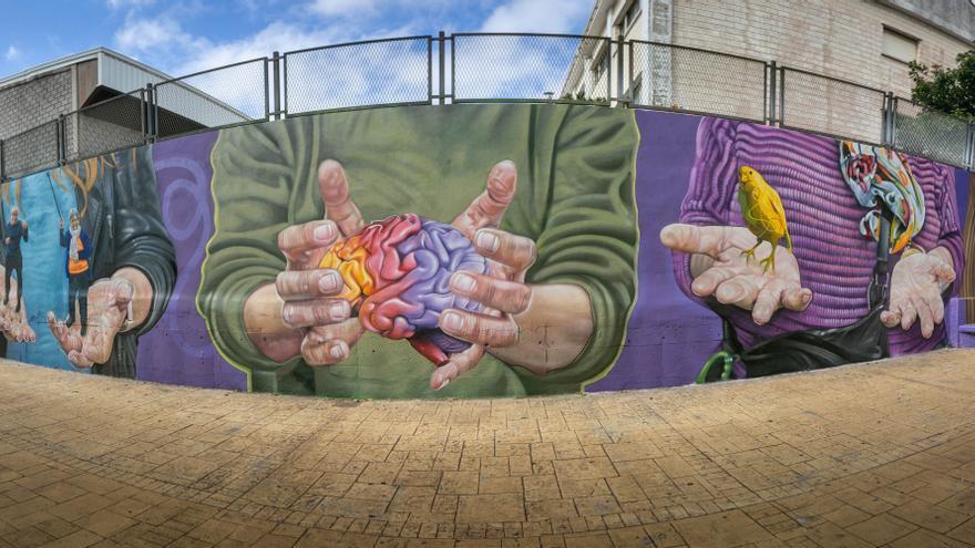 El mural de la gente llena de vida las paredes del Padre Anchieta