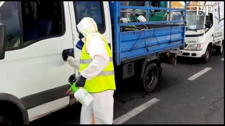 Desinfección en el puerto de San Sebastián de La Gomera