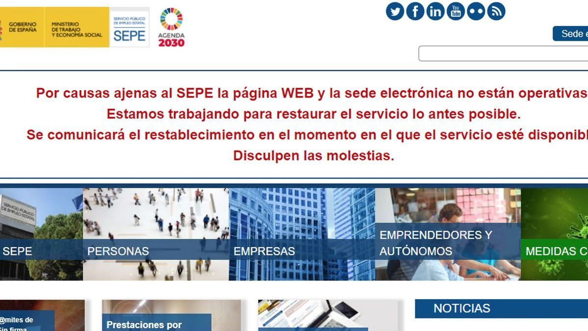 The message on the SEPE website.