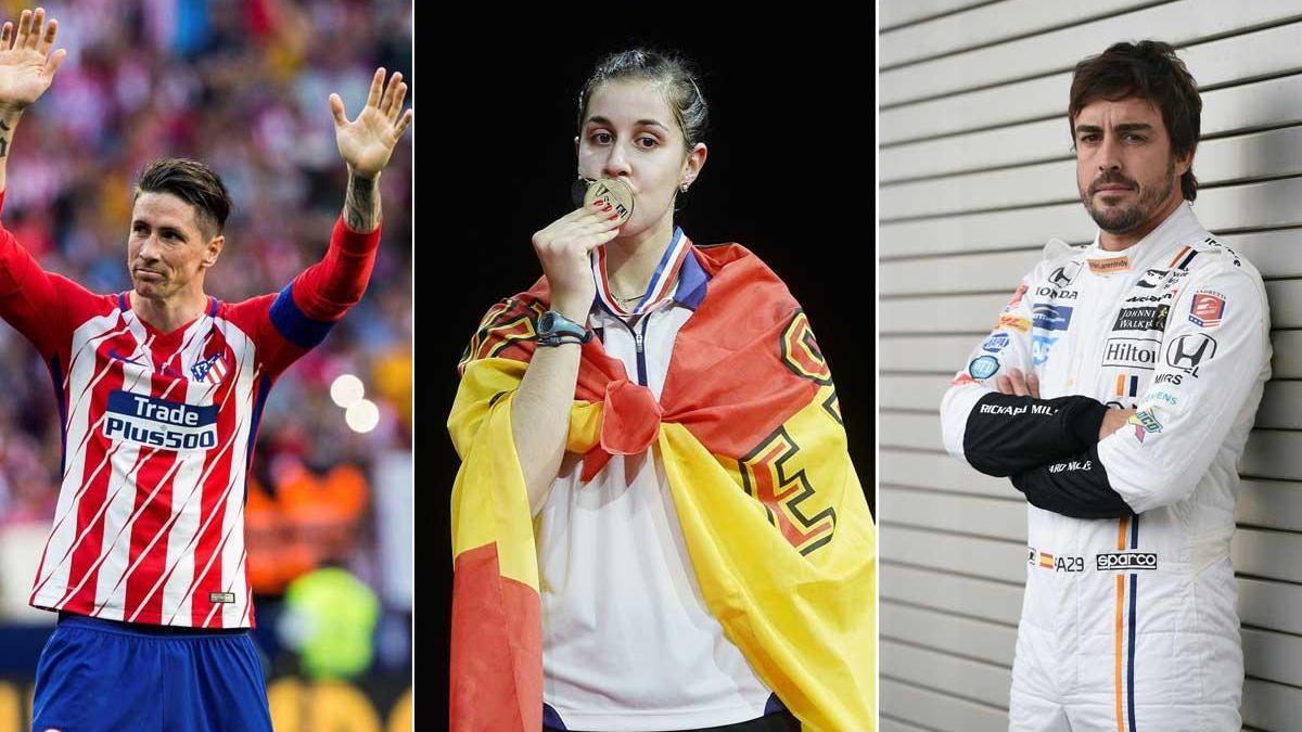Fernando Torres, Carolina Marín y Fernando Alonso.