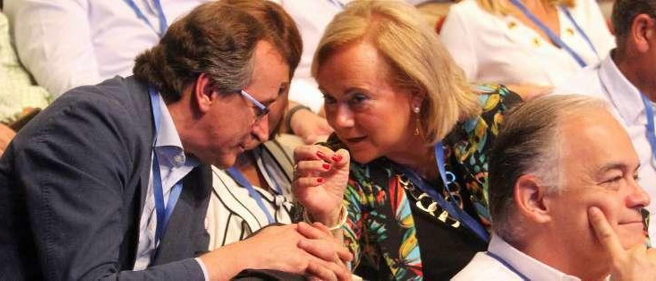 Mercedes Fernández conversa con Alfonso Alonso durante el congreso.