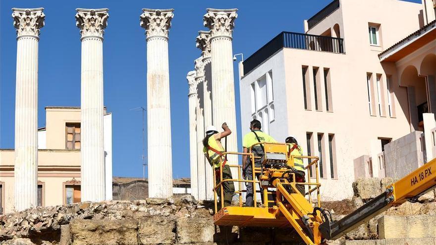 La obra del Templo Romano, en el día de la marmota