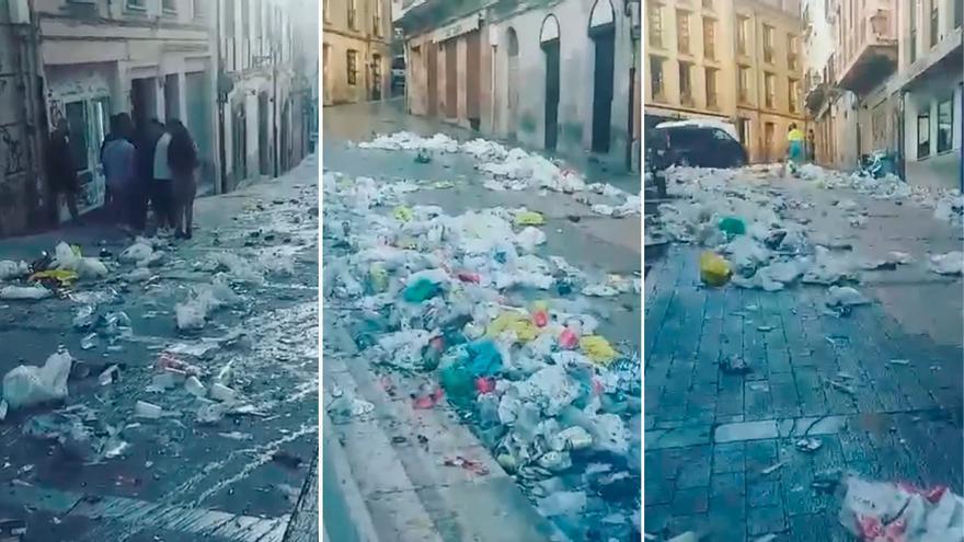 Vídeo: Este es el rastro que deja el botellón de San Mateo por las calles de Oviedo