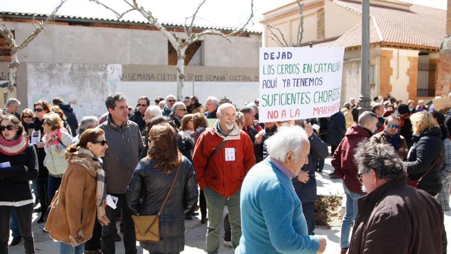 Una de las manifestaciones contra las macrogranjas organizada en Cerecinos