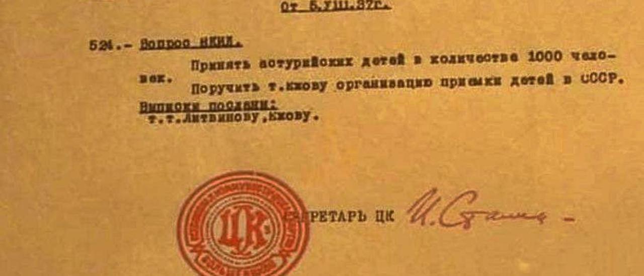 Detalle del informe firmado por Stalin en 1937.