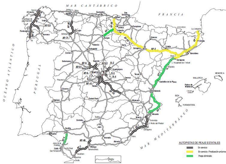 Autopistas de peaje actuales. En negro los tramos en servicio. En amarillo los tramos de próxima finalización. En verde, tramos eliminados. Ministerio de Transportes, Movilidad y Agenda Urbana.Gobierno de España.