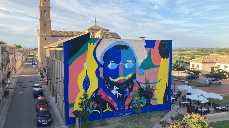 Un gran mural rinde homenaje a Pradilla en Villanueva de Gállego