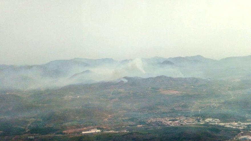 Las hectáreas calcinadas de Azuébar, vistas desde el helicóptero