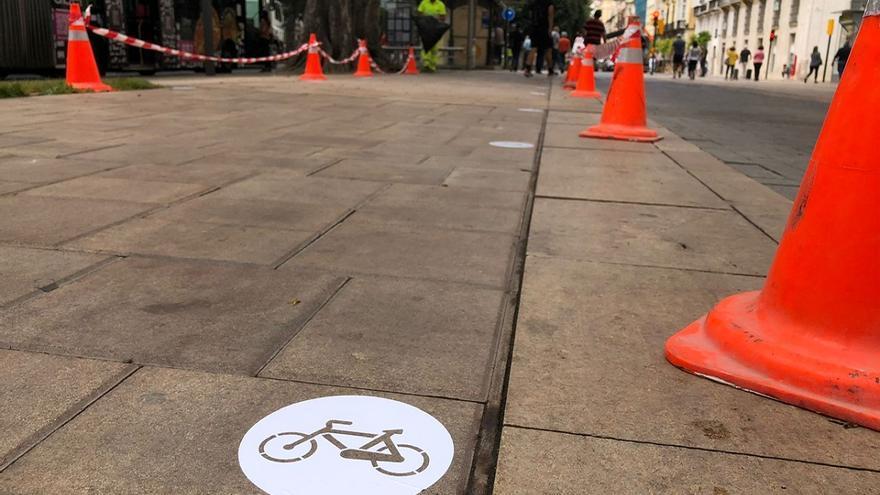 Empiezan a habilitar el carril bici de la Alameda Principal