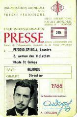 Carné de prensa de Perdomo; portada de dos de sus libros y dos páginas de los periódicos que fundó.  | | LP/DLP