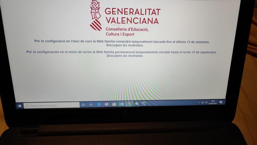 Malestar por el 'apagón' de Web Família hasta el 13 de septiembre