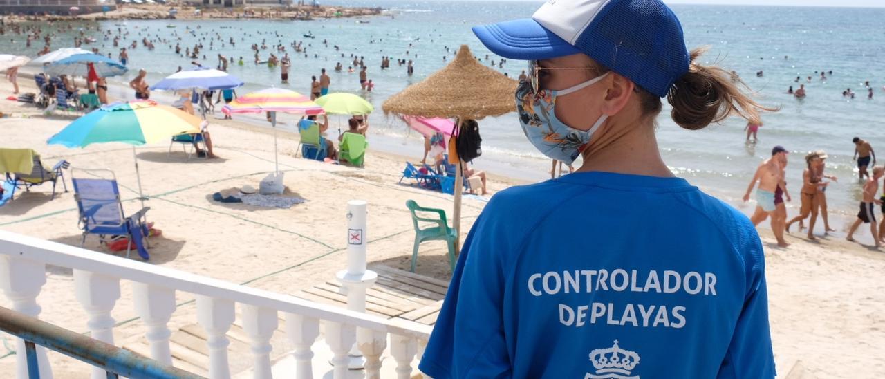 Imagen de uno de los controladores de playas en Torrevieja el pasado verano en la playa de Los Locos