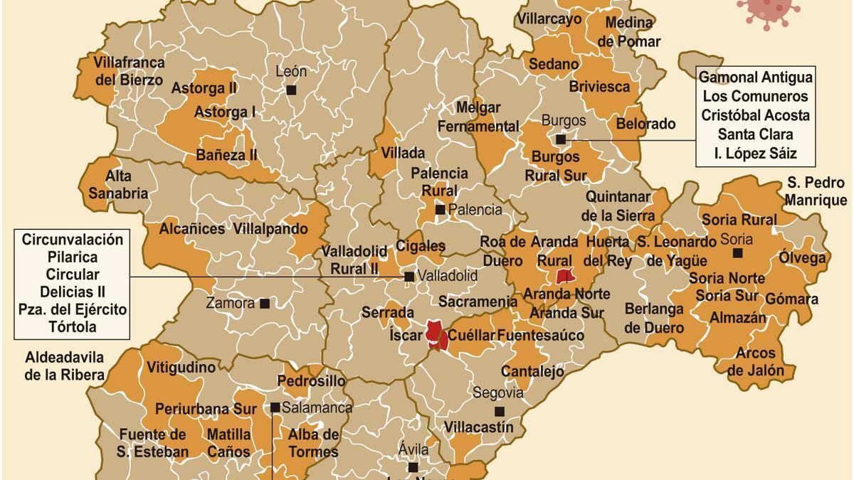 Mapa de riesgo de confinamiento en Castilla y León