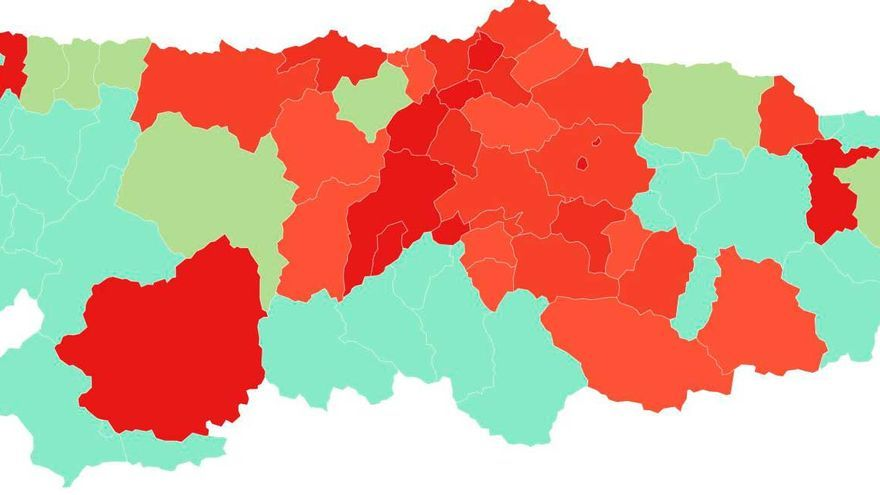 Consulta en este mapa los niveles de alerta por concejo en Asturias que cumplen las medidas para aplicar las restricciones