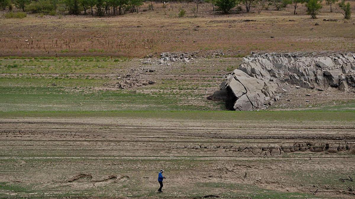 Un hombre camina por el embalse compeltamente seco a la altura de Perilla de Castro. | Jose Luis Fernández