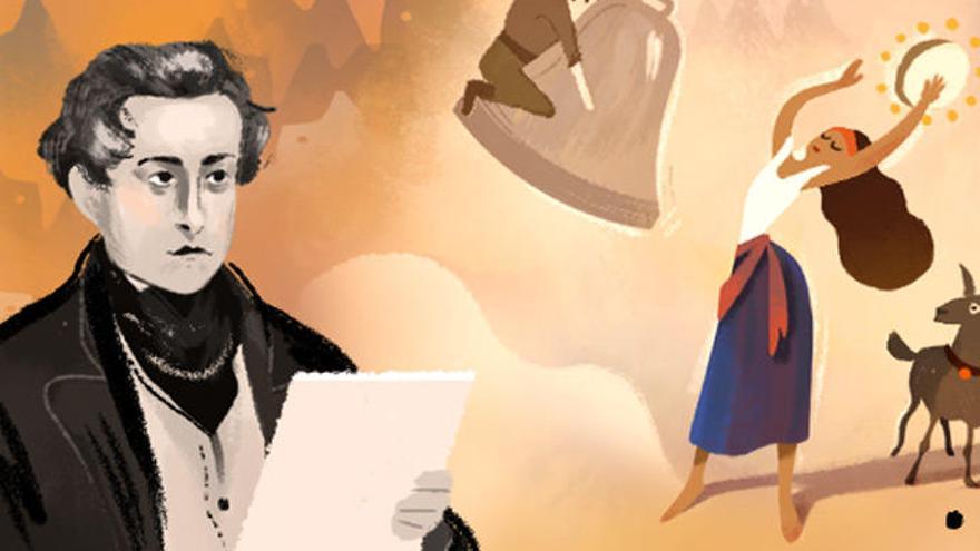 Víctor Hugo y sus novelas, en el 'doodle' de Google