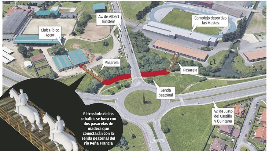 Dos puentes comunicarán Las Mestas y el Chas para crear un gran complejo hípico
