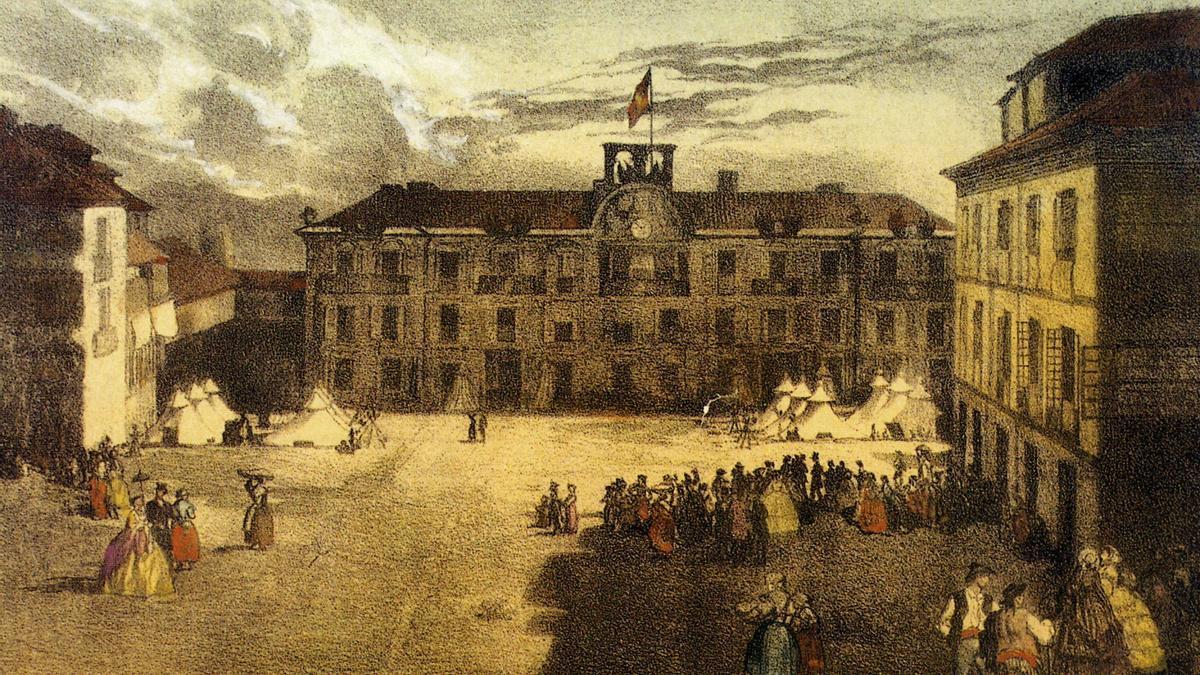 La plaza de la Harina, en una imagen de principios del siglo XIX.