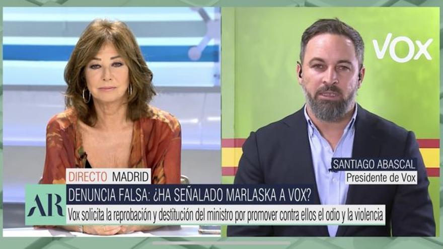 """Ana Rosa choca con Abascal por definir al gobierno como """"ilegítimo"""": """"Lo he discutido contigo"""""""