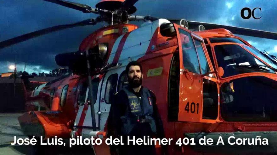 El piloto del Helimer 401 de A Coruña promueve el uso del chaleco salvavidas
