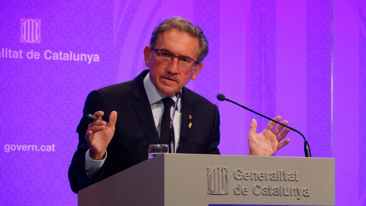 El conseller d'Economia i Hisenda, Jaume Giró, en roda de premsa posterior al Consell Executiu el 20 de juliol de 2021. (Horitzontal)