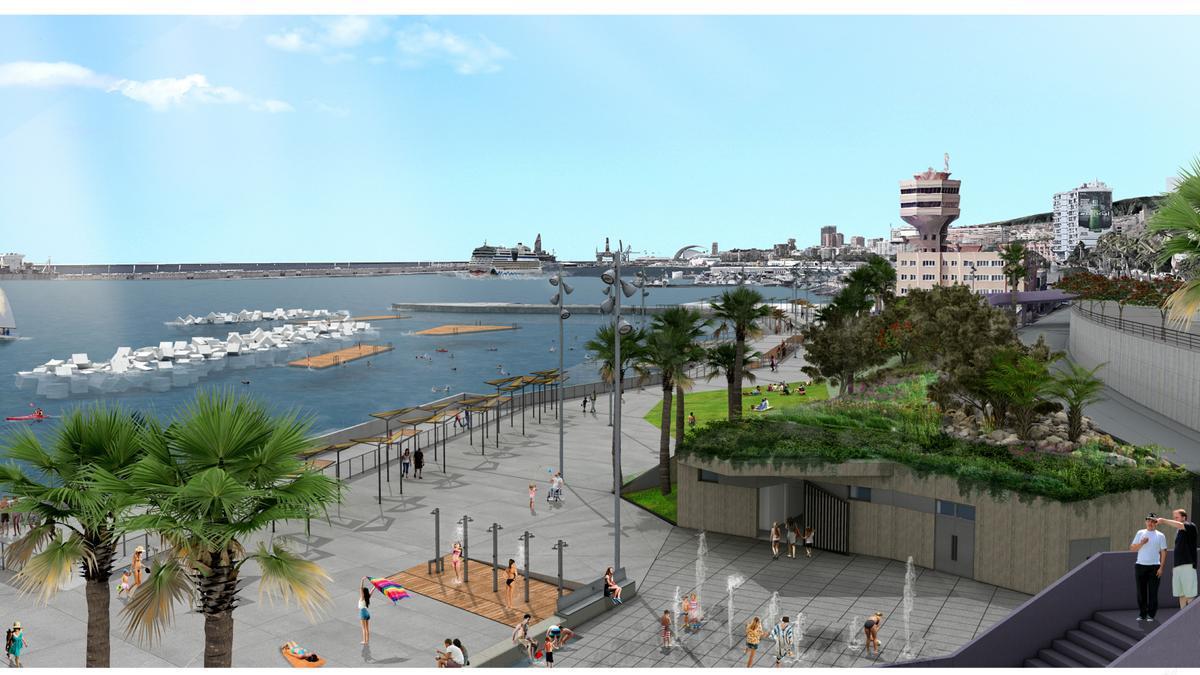 Maqueta de la playa de Valleseco, en Santa Cruz de Tenerife.