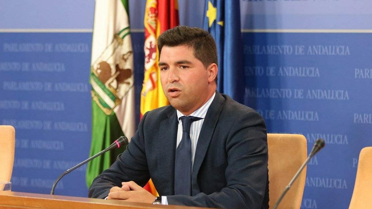 El presidente de la comisión de investigación de la Faffe, Enrique Moreno, en rueda de prensa en el Parlamento andaluz.