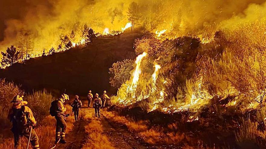El primer incendio extenso de este verano movilizó a 17 medios aéreos y 45 brigadas