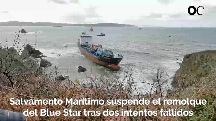 El 'Blue Star' aguarda en Ares al vaciado de combustible