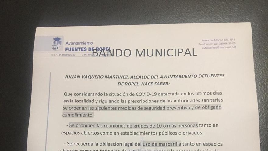 Fuentes de Ropel prohíbe las reuniones de 10 o más personas ante la situación de COVID-19