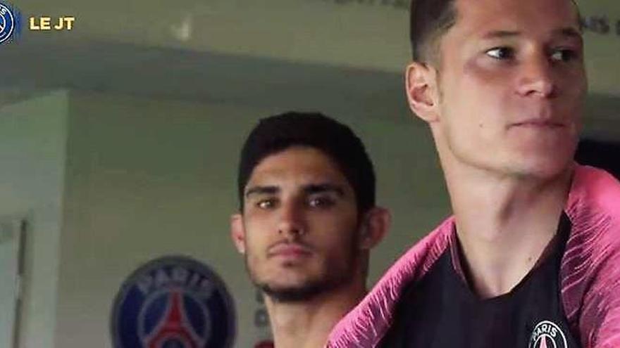 Guedes, cara a cara con el entrenador del PSG