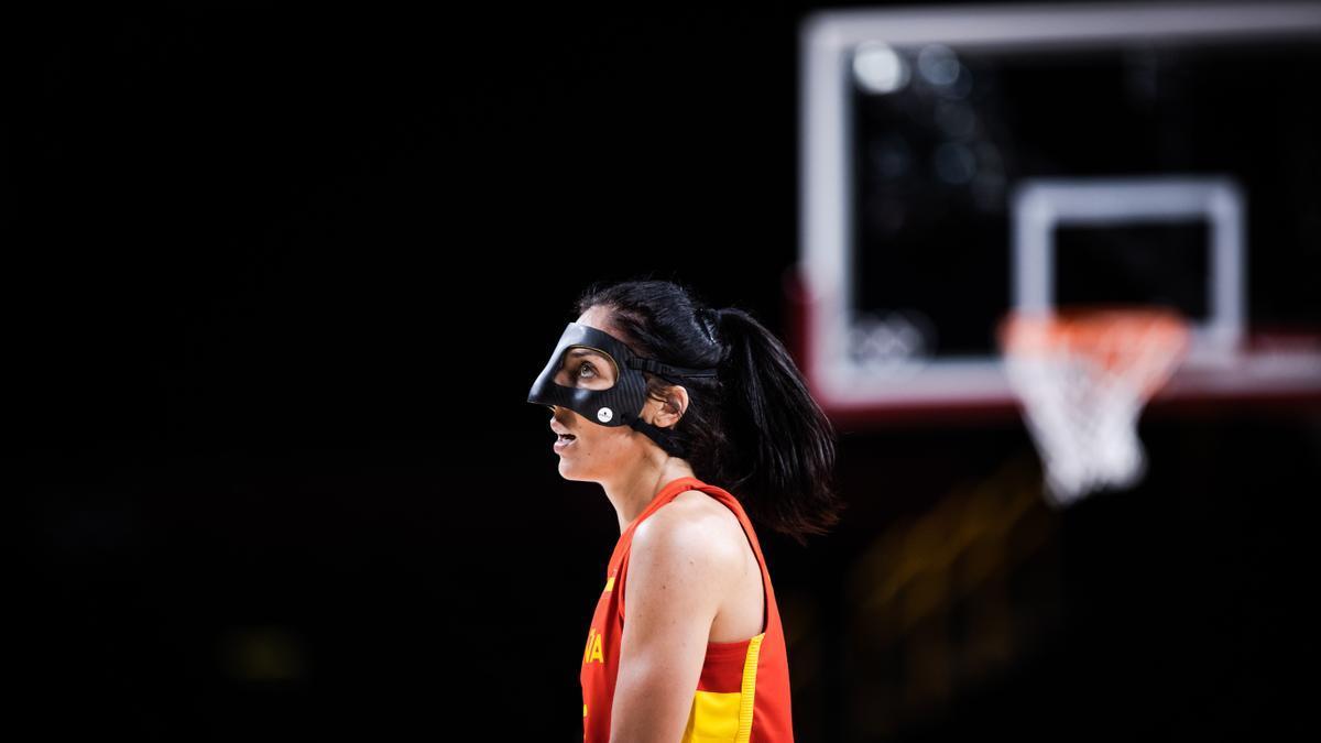 Cristina Ouviña, durante el primer partido de la selección femenina de baloncesto.