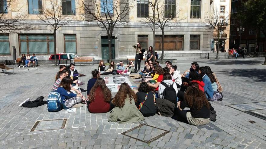 Protestas de estudiantes en Oviedo