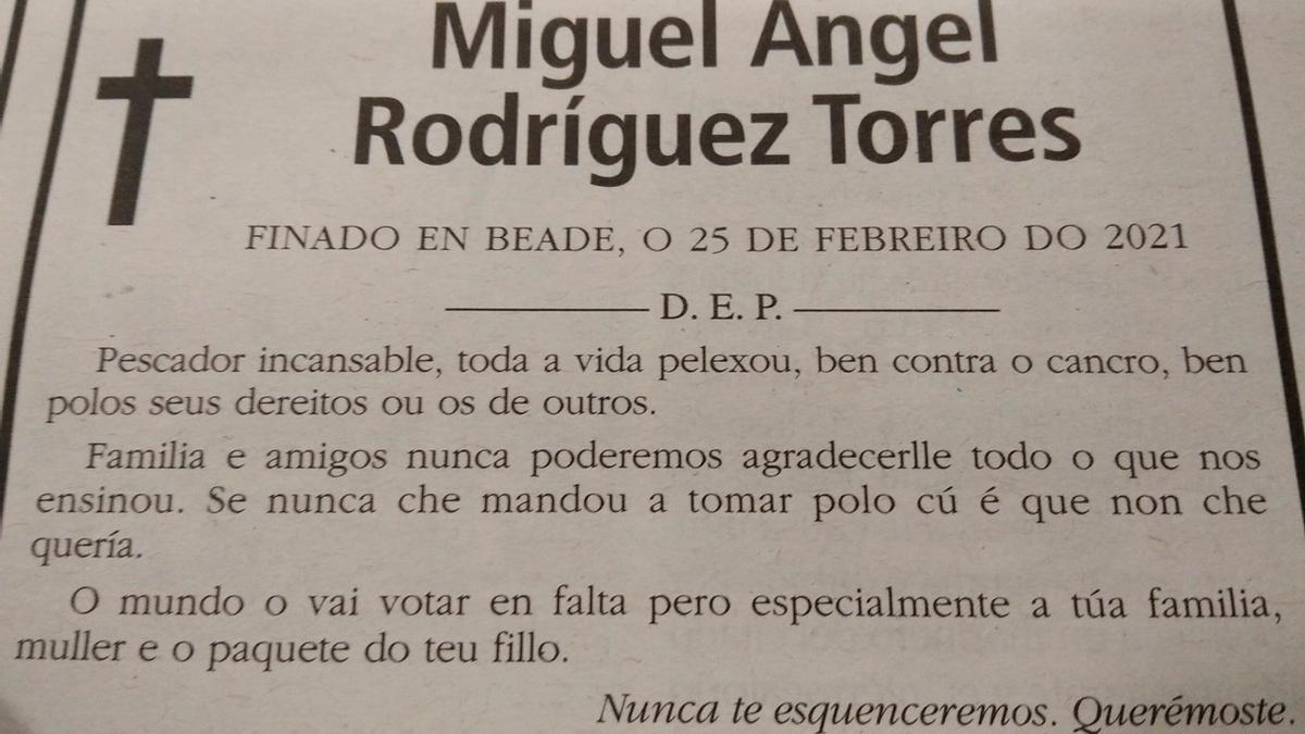 Esquela viral en Vigo.