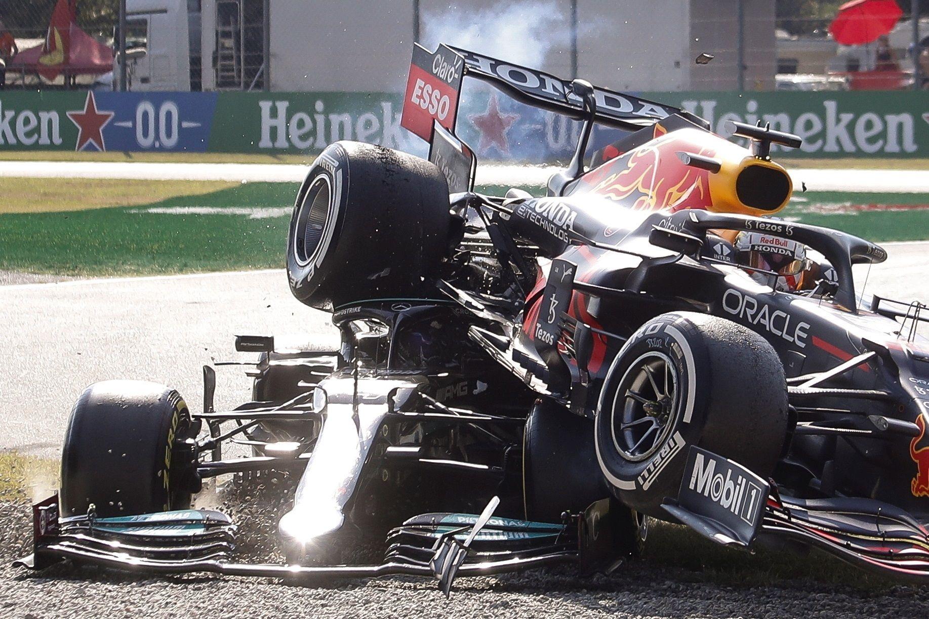 El accidente entre Verstappen y Hamilton en el GP de Italia