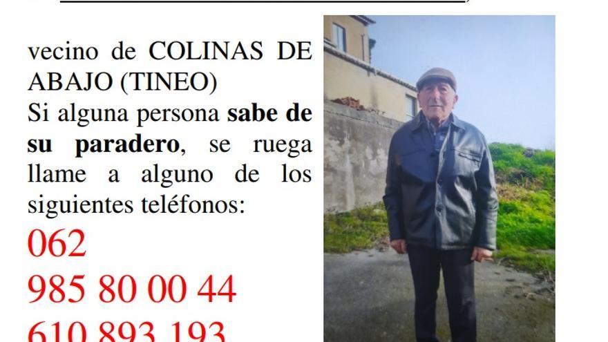 Buscan a un octogenario desaparecido en Colinas de Abajo (Tineo)