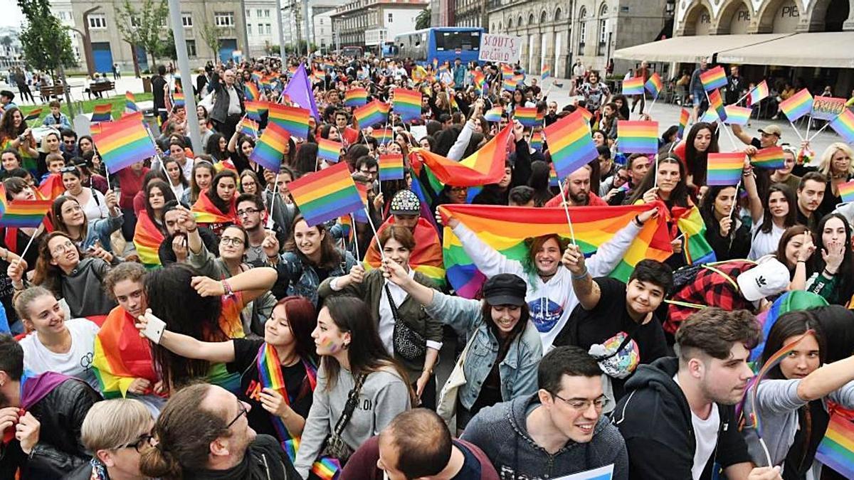 Manifestación en A Coruña por el día del Orgullo LGTBI.   | //VÍCTOR ECHAVE