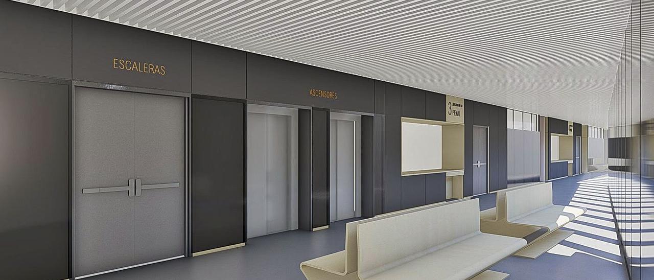 Otra recreación de los pasillos del futuro edificio.