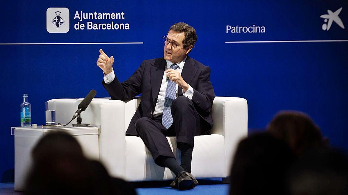 Antonio Garamendi, durant la  seva intervenció a la reunió del Cercle d'Economia | EP