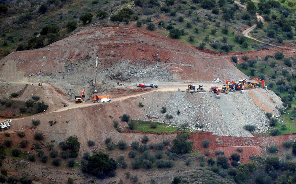 A drill is seen drilling a well at the area ...