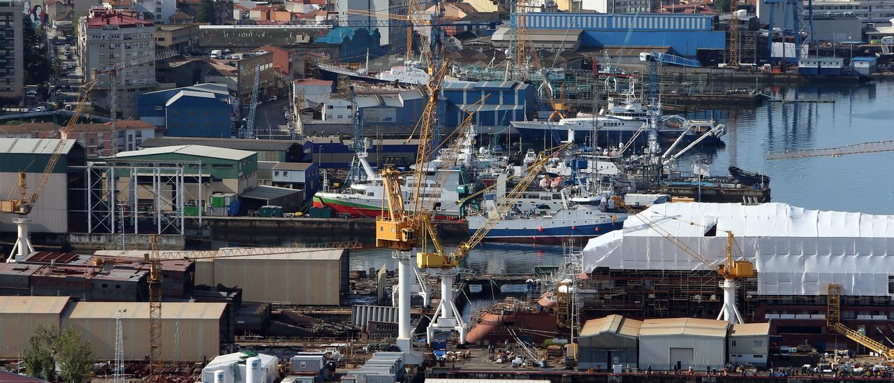 Vista general de los astilleros vigueses de Beiramar, este viernes.