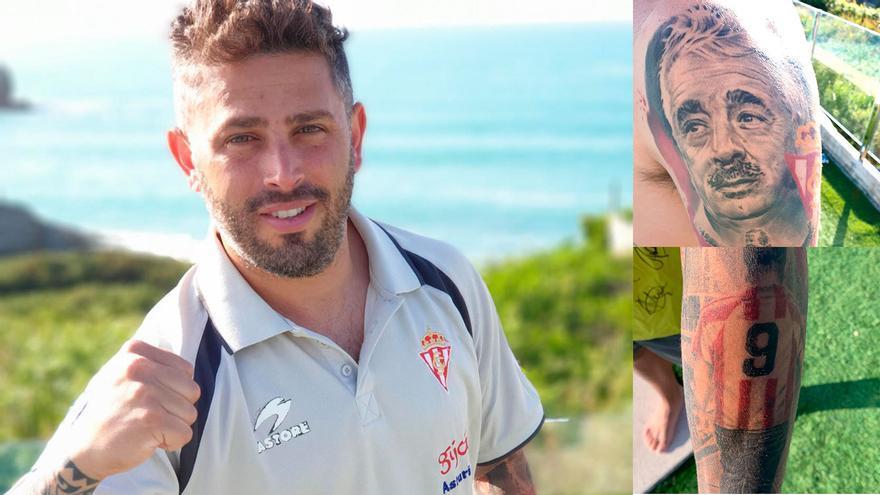 Lleva tatuado el escudo del Sporting, la camiseta de Quini y a su padre: Manu Preciado, rojiblanco a flor de piel