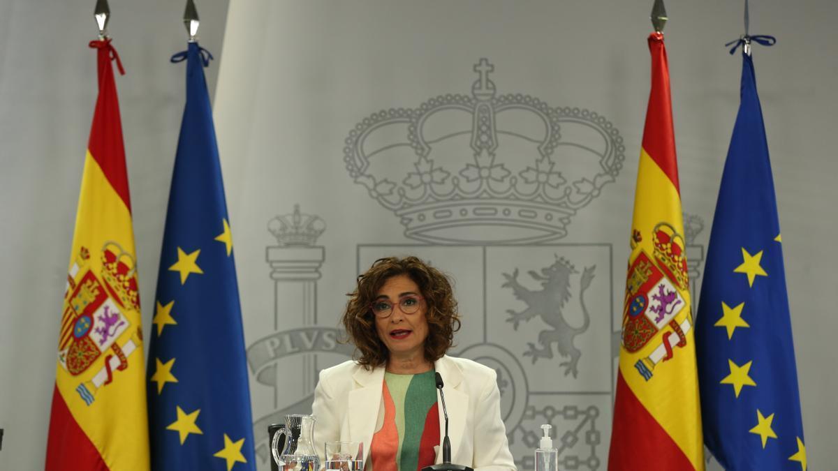 La ministra de Hacienda y portavoz del Gobierno, María Jesús Montero, en la rueda de prensa posterior al Consejo de Ministros celebrado este martes 11 de mayo de 2021 en Madrid