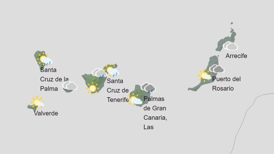 Lluvias dispersas y nubosidad este martes en Canarias