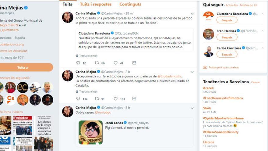 Un tuit de Mejías critica l'estratègia de Cs i el partit ho atribueix a un atac de hackers